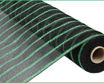 CLEARANCE - 21 Inch Black Thin Lime Green Stripe Deco Mesh Roll RE1033EE, Deco Mesh Supplies