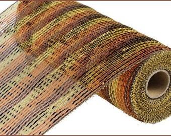 10 Inch Chocolate Copper Gold Wide Foil Striped Deco Mesh Roll RE1364HX, Deco Mesh Supplies