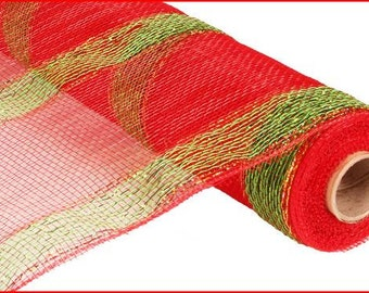21 Inch Red Lime Green Gold Foil Deco Mesh Roll RE1012A4, Deco Mesh Supplies