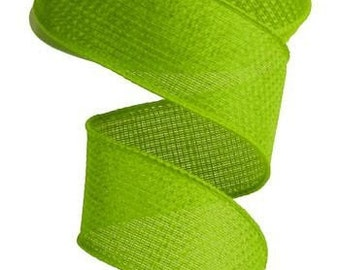 """1.5"""" Lime Green Wired Cross Royal Burlap Ribbon,  5 Yards or 10 Yard Lengths Available, Ribbon for bows, Ribbon for Wreaths"""