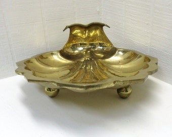 Vintage Brass Clam Shell Tray Serving Tray
