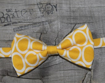 Yellow oval bow tie little boys - accessory, photo prop, birthday boy, ring bearer