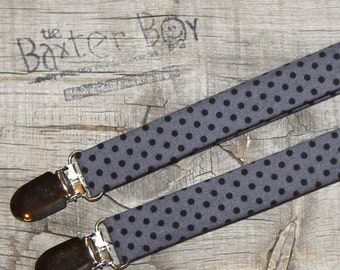 Grey with black polka dots, little boy suspenders - ring bearer, photo prop, wedding