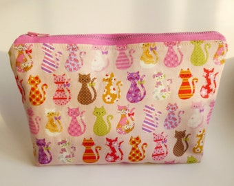 Zip Pouch, Cute Colorful Cats