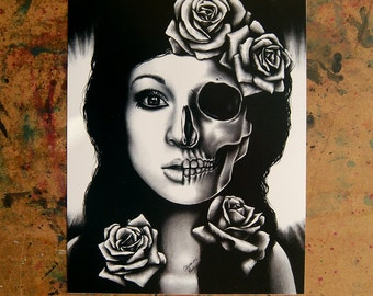 Skull Art - In A Trance - Black and White Horror Portrait Signed Art Print By Carissa Rose - Monochrome Lowbrow Tattoo Art Dark Outsider