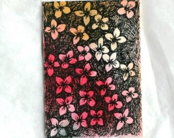 Red gold abstract watercolor aceo and gift tag with ribbon, original flower floral pen and ink orange