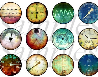 """Steampunk Gauges in Magnets, Pins for Wedding Favors,  Flat and Hollow Backs for Creating, 1"""""""