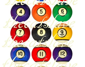 Billiard Ball Fridge Magnets Pins Game Pool Vintage Gift Sets Party Favors.