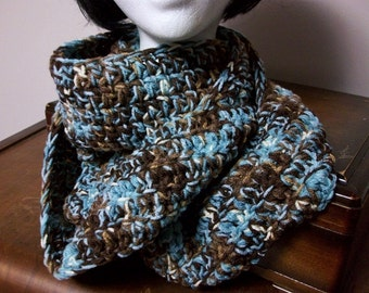 Robins Nest Infinity Scarf Chunky Blue Brown Cream Circular Scarf