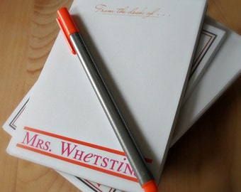 Custom Notepad - From the Desk of, Choice of Color and Fonts