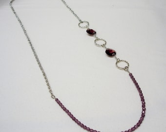 Plum Crystal Beaded Necklace with Silver Circles