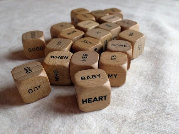 10 Wood Scrabble Word Sentence Vintage Game Cubes
