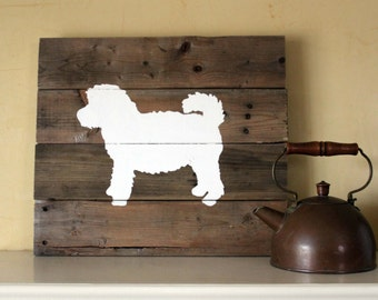 Mini Goldendoodle Silhouette -  Reclaimed Wood Sign, Petite Goldendoodle, groodle, miniature goldendoodle, mini doodle, goldenpoo