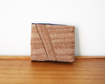 Tan Pinstripe Wool Bifold Mens Wallet with Navy Blue Interior
