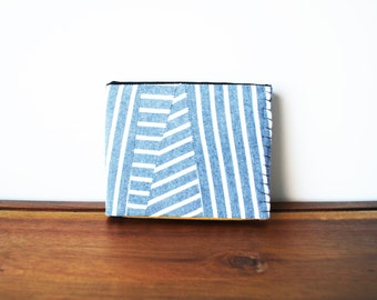 Upcycled Grey and White Striped Cloth Mens Bifold Wallet with Saffron and Black Interior