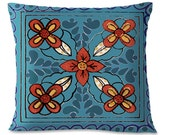 TALAVERA TILE Design - Turquoise - Mexican - Southwest - 16x16 - Linen Backing - Insert Included