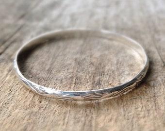 Sterling Silver Bracelet, Flourish Pattern Silver Bangle, Stacking Bangle, Bangle Bracelet, Bohemian Bracelet, Bohemian Jewelry