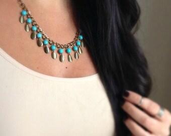 Turquoise Bib Necklace, Fringe Necklace, Turquoise Necklace, Bohemian Necklace, Statement Jewelry, Statement Necklace, Bohemian Jewelry