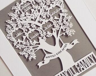Oak personalised unframed family tree paper cut