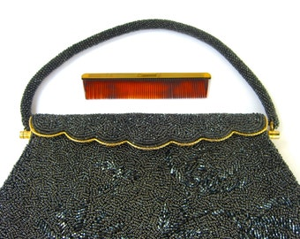 Vintage Beaded Bag, Mid Century Handbag Purse Pocketbook, Midnight Blue Navy Charcoal, Gold Trim