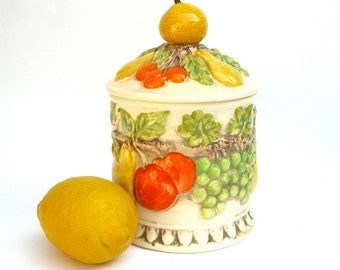 Lefton Fruit Cookie Jar Canister, Orange Green Yellow Lemon, 60s 70s, Cheery Kitchen, 701, Cookies Dog Treats