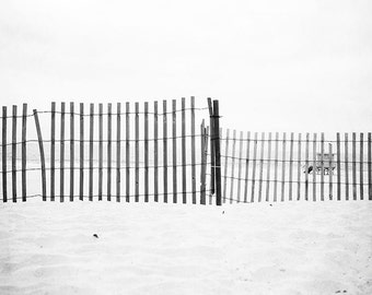 "Black and White Beach Photography, Wooden Beach Fence, Abstract Art, Gray Minimalist, Sandy Shores, Manhattan Beach ""Beach Fence"""