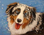 Australian Shepherd painting water surf ORIGINAL oil pastel painting Dog art aussie