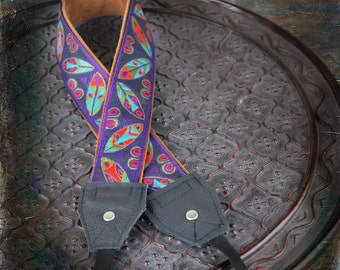 NEW Purple Tribal Leaves Leather and Suede Camera Strap