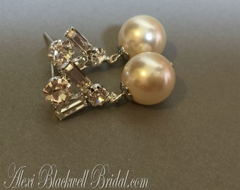 Classic Pearl Earrings with Rhinestone Bridal Earrings with Swarovski Pearls in Cream Ivory or your choice of color elegant wedding earrings