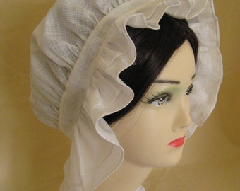 Regency Day Cap. Jane Austen. Hand finished cotton organdy.  MADE TO ORDER. Based on extant examples.