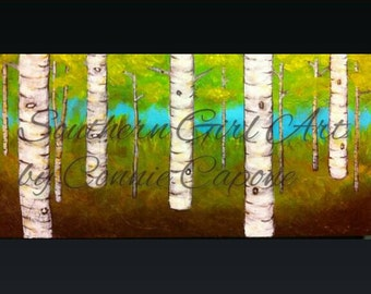 Summer aspens on a 10x20 canvas in blues, browns and greens with glossy finish.
