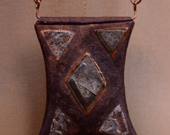 70's Modernist Burnished Copper and Metal Ethnic Tribal Pendant