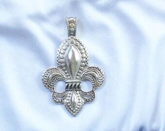 Pretty Large Tibetan Silver FLEUR DE LIS Pendant * 76mm x 45mm