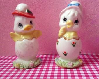 Pair of Vintage Easter Chicks in Eggs