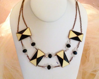Art Deco Statement Necklace (Black and Ivory) REPURPOSED MATERIALS