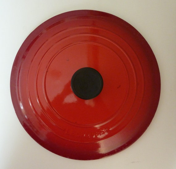 Vintage Le Creuset Lid 28 Made In France Red Lid Only