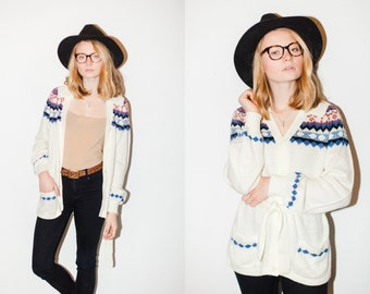 Cream Pink and Blue Tunic Cardigan Sweater with Tie Sash Belt. M