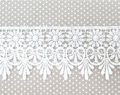 Venice Lace Bridal WHITE Daisies and Scallops Trim 1 Yd Venise STUNNING