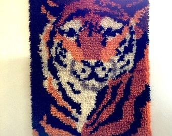 Vintage Latch Hook Tiger Wall Hanging Home Decor