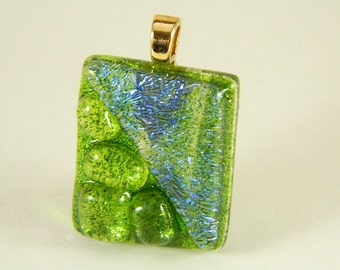 Green and Blue  Dichroic Fused Glass Pendant