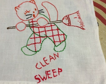 Vintage 1940s Clean Up Kitty Embroidered Linen Tablecloth 36 x 48