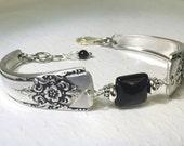 Spoon Bracelet, Silverware Jewelry, Black Onyx Gemstone, 'Mountain Rose' 1954
