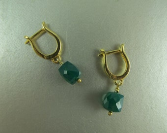Emerald Faceted Cubes, Drop Earrings, European Leverback Earwires, Gold Vermeil, May birthday, Mother's Day, Everyday Earrings