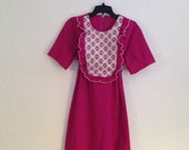 Raspberry lace ruffle mod 60s babydoll dress hip hugger mini xl plus size 46-40-50