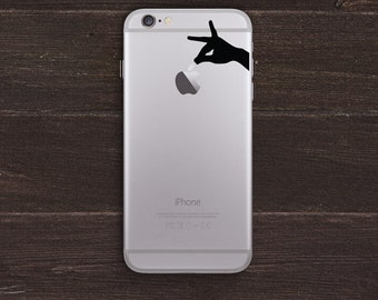 Picking an Apple, Hands Silhouette Vinyl iPhone Decal BAS-0226