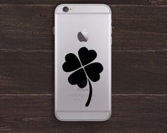 Lucky Four Leaf Clover Vinyl iPhone Decal BAS-0236