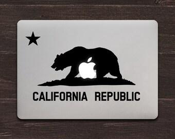 California Flag Apple Vinyl MacBook Decal BAS-0293
