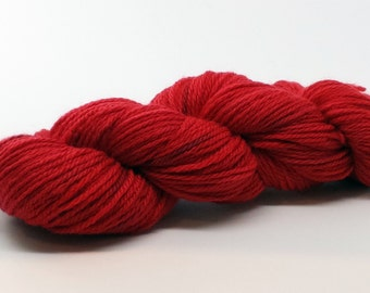 Cherry Red Bluefaced Leicester ColorPurl Hand Dyed Yarn Aran Weight called Cherry Chick