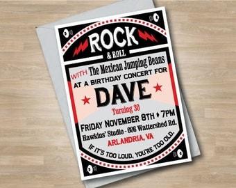 Rock n Roll Adult Concert Birthday Invitation