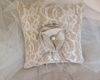 Burlap and lace ring bearer pillow, Vintage style rustic, barn country wedding pillow